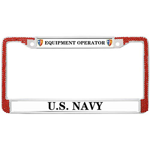 GND United States Navy License Plate Frame for Women,Equipment Operator License Plate Frame Rhinestones Red Bling Red License Plate Frame for Car for US Vehicles
