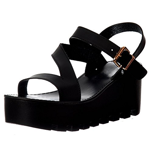 Onlineshoe Womens Cleated Sole Summer Low Wedge Sandals - Black, White Black Pu