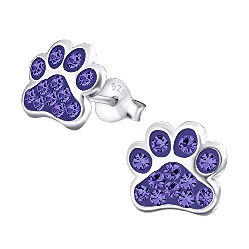 925 Sterling Silver Purple Crystal Paw Print Stud Earrings (Dog Crystal Earrings)