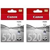 2x Genuine Original Canon 520 PGBK (PGI-520BK) Black ink cartridge for Pixma MX860 Printer (boxed)