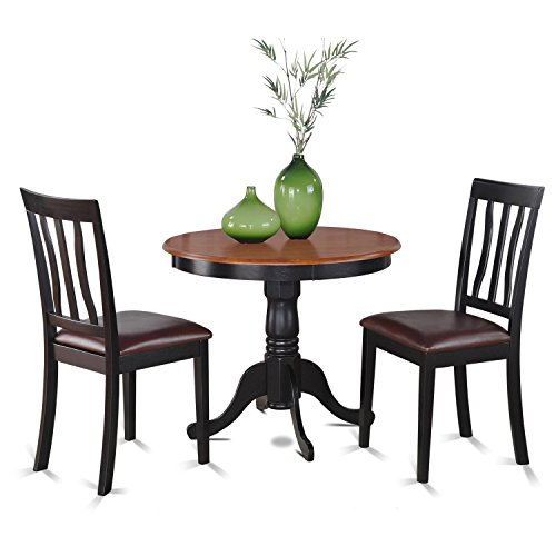 East West Furniture ANTI3-BLK-LC 3-Piece Kitchen Table Set with Breakfast Nook, Black/Cherry Finish (Breakfast Round Nook Table)