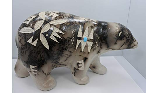 All Tribe Silver Native American Navajo Pottery Horse Hair Walking Bear Sculpture by Vail! Etched ()