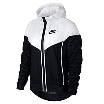nike women's windrunner jacket size large black and white