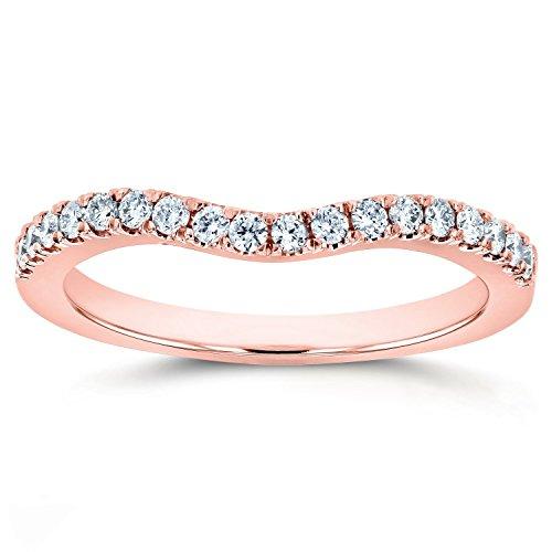 Lab Grown Diamond Womens Curved Wedding Band 1/5 CTW 14k Rose Gold (DEF/VS)