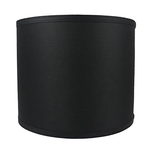 Urbanest Classic Drum Smooth Linen Lampshade, 12-inch by 12-inch by 10-inch, Black
