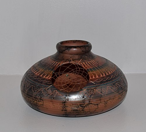Usa Pottery Vase (Colorful Hand Etched Horse Hair Decorative Pottery with Genuine Dreamcatcher)