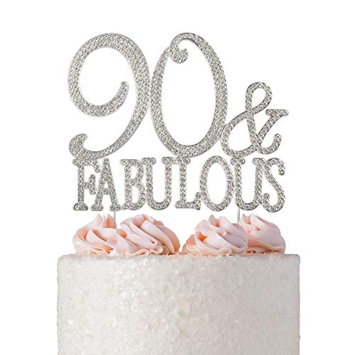 90 and Fabulous Rhinestone Cake Topper | Premium Bling Crystal Diamond Rhinestone Gems | 90th Birthday Party Decoration Ideas | Quality Metal Alloy | Perfect Keepsake (90&Fab Silver)
