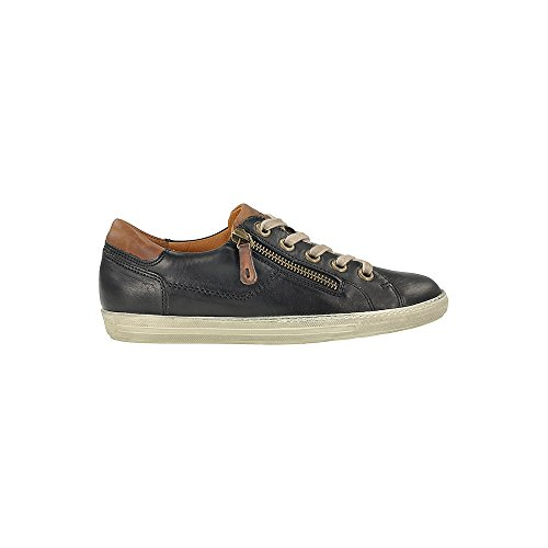 4128 Leather Trainer with Zip Black