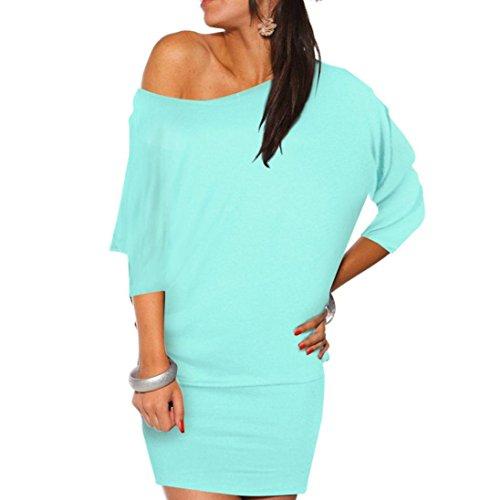 Off Shoulder Dress,Hemlock Women's Ladies Sexy Bodycon Dress Shirt Short Batwing Dress (S, Blue)