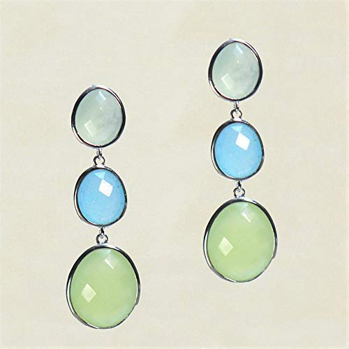 Sivalya DEW DROPS Natural Peruvian Opal and Aqua Chalcedony Dangle Drop Post Earrings in 925 Sterling Silver