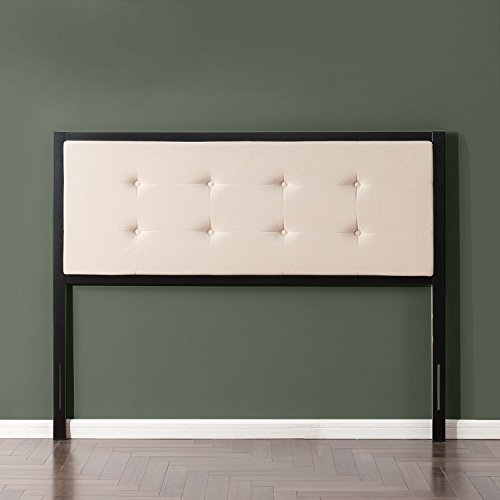 Zinus Barbara Button Tufted Taupe Upholstered Metal Headboard, Queen (Bed Frame Soft Headboard)