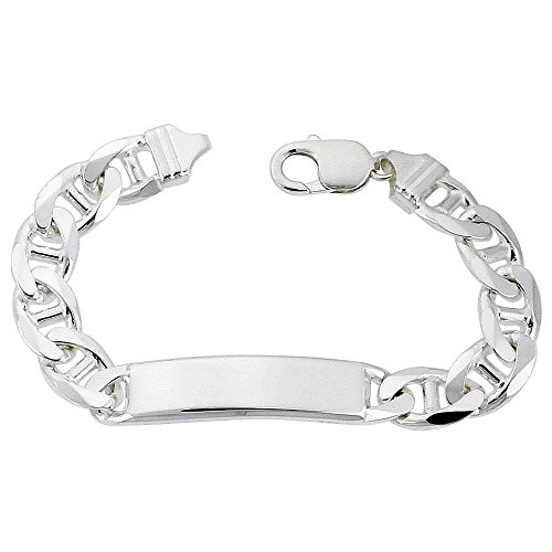 Sterling Silver ID Bracelet Mariner Link 3/8 inch wide Nickel Free Italy, 8 inch by Sabrina Silver