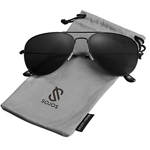 SOJOS Classic Aviator Polarized Sunglasses Mirrored UV400 Lens SJ1054 with Black Frame/Grey Polarized Lens