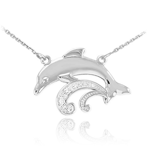 925 Sterling Silver 3-Stone CZ Jumping Dolphin Pendant Necklace, 20""