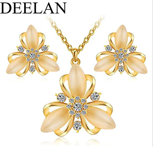 Libaraba Diamond Accent Filigree Three Petals of Yulan Magnolia Flowers Pendant Necklace Earrings Jewelry Sets,Magnolia Jewelry Sets for Women (Golden)