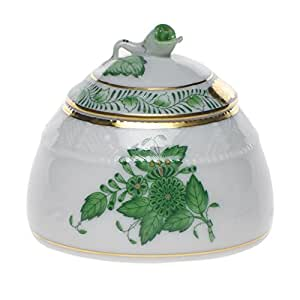 Herend Chinese Bouquet Green Honey Pot With Rose Lid