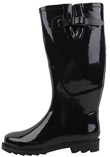 Shoes8teen Chaussures 18 Bottes De Pluie Classiques Pour Femmes Avec Boucles Imprimées Et Solides Noir 5000