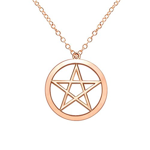 MANZHEN Gold Silver Supernatural Star Pentagram Pentacle Pendant Necklace Wicca Pagan Jewelry (Rose ()