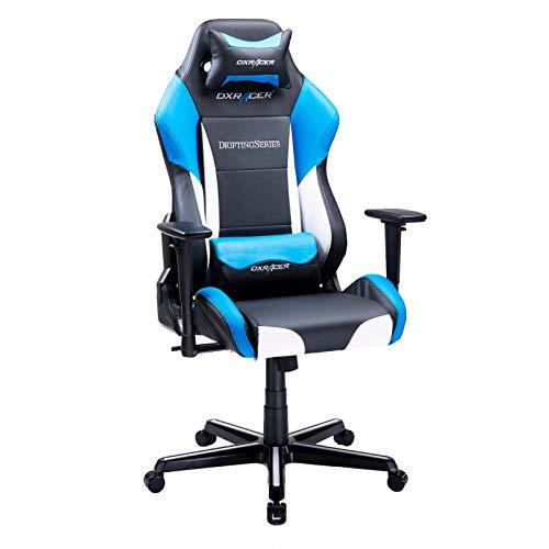 DXRacer USA Drifting Series OH/DM61/NWB Gaming Chair Computer Chair Office Chair Ergonomic Design Swivel Tilt Recline Adjustable with Tilt Lock, Includes Headrest Pillow and Lumbar Cushion (Blue) DXRacer USA