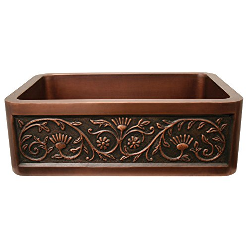 Whitehaus Copperhaus rectangular undermount sink with a Sun Flower design front apron Copperhaus Rectangular Copper Sink
