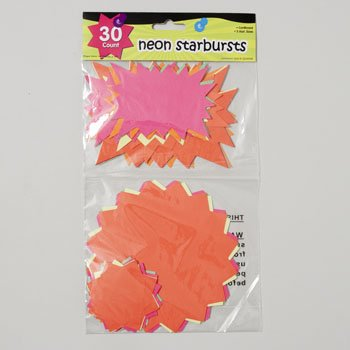 STARBURSTS NEON 30CT 5 SIZES 5 COLORS PAPER GOV LOGO, Case Pack of 36