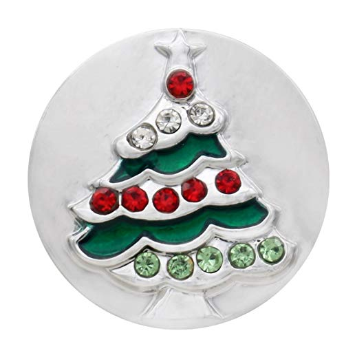 Rockin Angels Silver Red Green Rhinestone Christmas Tree 20mm Snap Charm for Ginger Snaps ()