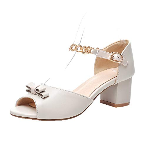 VogueZone009 Women Pu Buckle Open-Toe Kitten-Heels Solid Sandals, CCALP014974 Beige