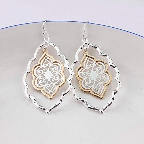 - New Two Tone Gold Teardrop Chandelier Earrings for Women