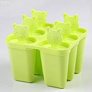 Fieans Home Nasessary Set of 6 Freezer Popsicle Mould Pop Maker Ice cream Molds with Holder-Green
