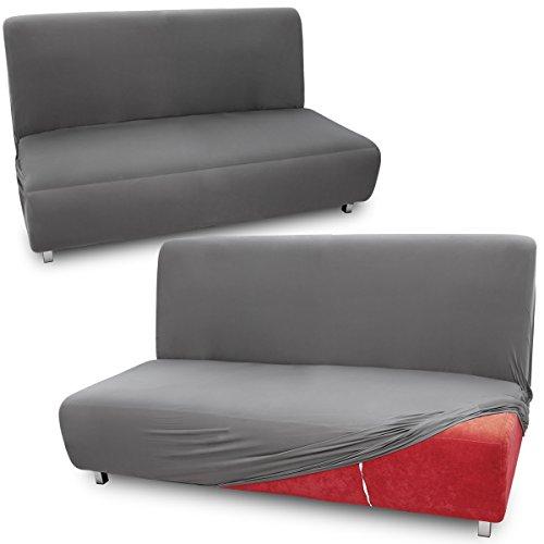 Fundas de Mueble para sofás Cama Clic-Clac Brazos de Madera Funda de Sofá Elástica Ajustable (2 plazas, Gris)