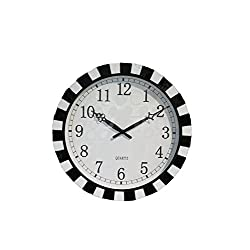 SMC 16-inch Round Quartz Silent Non-ticking Wall Clock with Glass Cover and Natural Shell and Ceramic Chip Frame