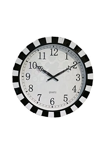 SMC 16-inch Round Quartz Silent Non-ticking Wall Clock with Glass Cover and Natural Shell and Ceramic Chip - Ceramic Frames Glasses