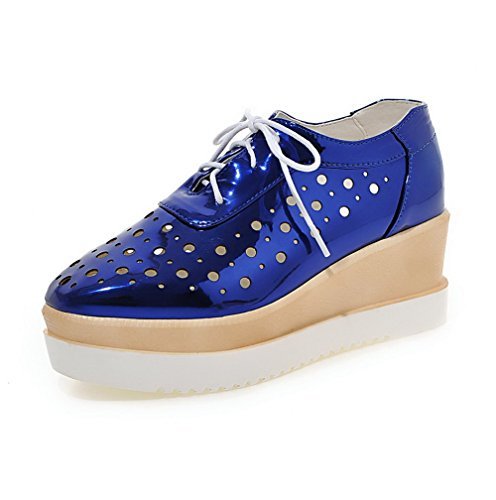 AllhqFashion Damen Quadratisch Zehe Schnüren PU Leder Rein Mittler Absatz  Pumps Schuhe Blau