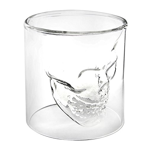 Leegoal 2 Ounces Crystal Skull Head Vodka Shot Glass Drinking Ware for Home Bar