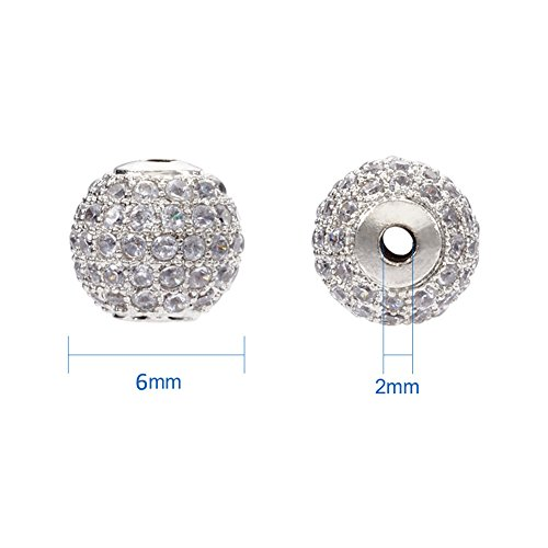 Pandahall 10pcs Round Brass Micro Pave Cubic Zirconia Beads 6mm Platinum Plated Disco Ball Spacer Beads for DIY Jewelry Charm Bracelet Making ()