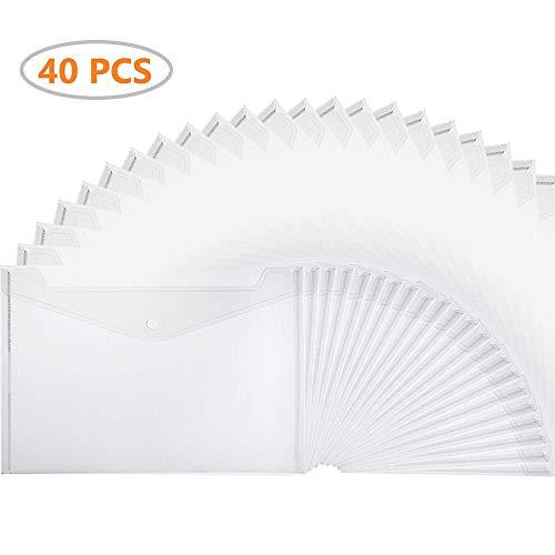 Xzyppci Poly Envelope, 40pcs Clear Plastic Waterproof Envelope Folder with Button Closure,Project Envelope Folder, A4 Size