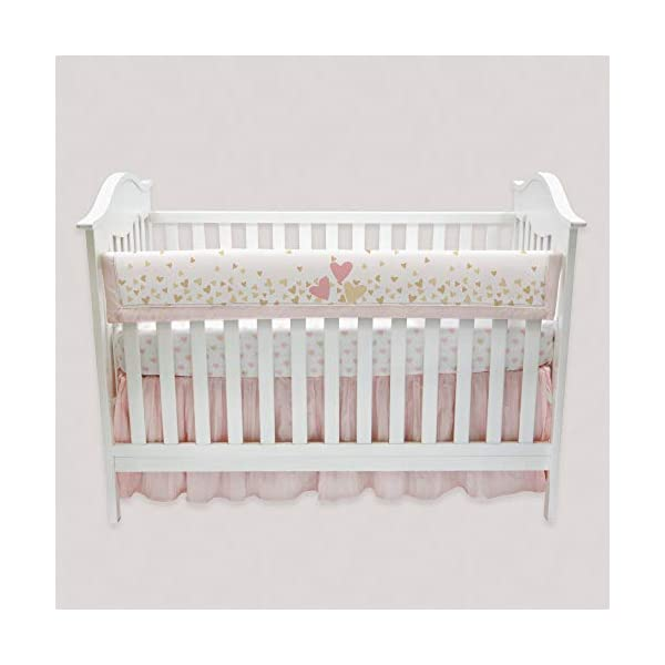 Lambs & Ivy Confetti Heart Crib Rail Cover, Pink/Gold