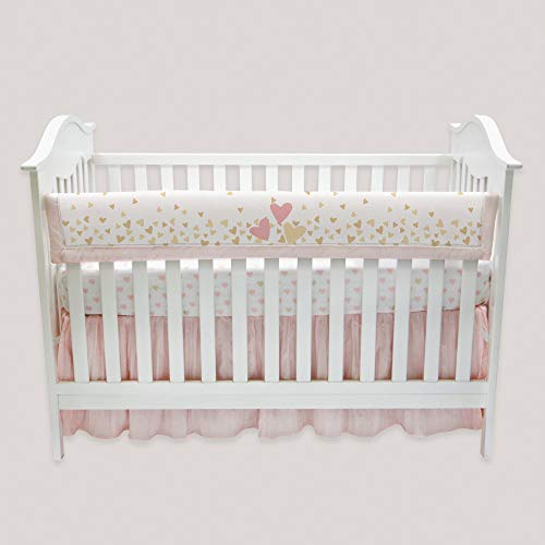 Lambs & Ivy Confetti Heart Crib Rail Cover, Pink/Gold by Lambs & Ivy