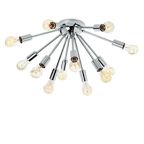 Chrome Sputnik Flush Mount Light - 12 Socket Ceiling Fixture, Mid-Century Modern Candelabra Chandelier by Brooklyn Bulb Co - ETL Listed