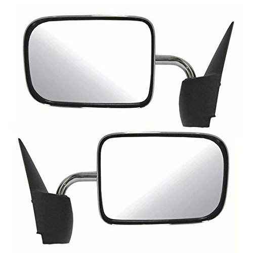 97 Dodge Ram Truck Mirror (Chrome Manual Side View Mirror Left/Right Pair Set for 94-97 Ram Pickup Truck)