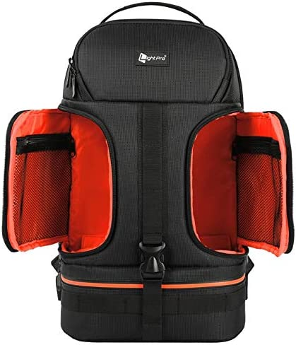 He-lanshangmaobu Fashion Camera case DSLR Waterproof Shockproof Shoulders Camera Backpack Tripod Case w//Reflector Stripe fit 15.6 in Laptop Bag for Canon Nikon Sony Color : Orange
