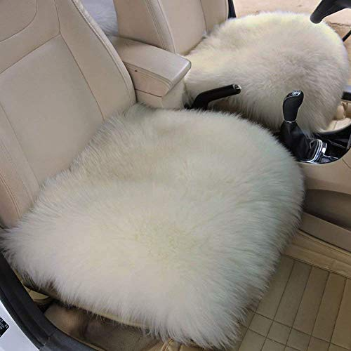 WINGOFFLY 2 Pack 17.7x17.7 Luxurious Faux Sheepskin Long Wool Front Car Seat Covers Pad Mat Universal Fit for Auto Supplies Office Chair, White