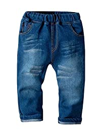 pipigo Boys Jeans Casual Elastic Waist Washed Distressed Denim Pants