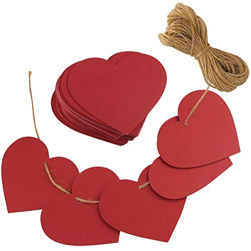 TUPARKA 80 Pcs Red Paper Hearts Paper Kraft Gift Tags Heart Shape with String For Valentines Day Decorations Valentines Gift Favor Tags (Come With 20m Jute Twine)
