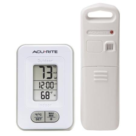 Acu Rite Plastic Thermometer - Acurite Wireless Indoor/Outdoor Thermometer with Clock