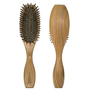 VAMIX Natural Wooden Green Sandalwood Hair Brush - No Static Detangling Scalp Cushion Massage Hair Comb