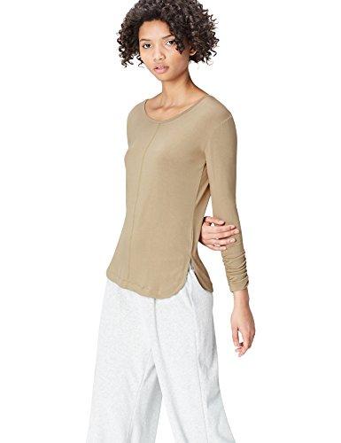 Find Lunga T khaki shirt A Girocollo Manica Donna Verde RwRTP