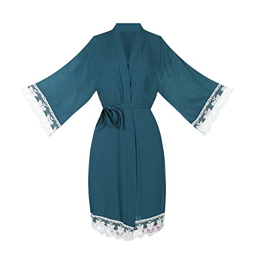 Women's Cotton Robe for Bride and Bridesmaid with Lace Trim (Medium,Teal)