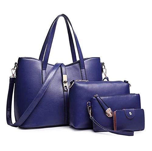 Set Pièces En Paquet De Blue cuir Cuir À Portefeuille Pure Lxyiun blue Sac Couleur Embrayage Diagonal Principal Femmes Main Quatre Eqvwx0In