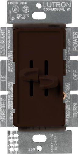 Lutron S2-L-BR Skylark 300-Watt Single Pole Dual Slide-To-Off Dimmer, Brown